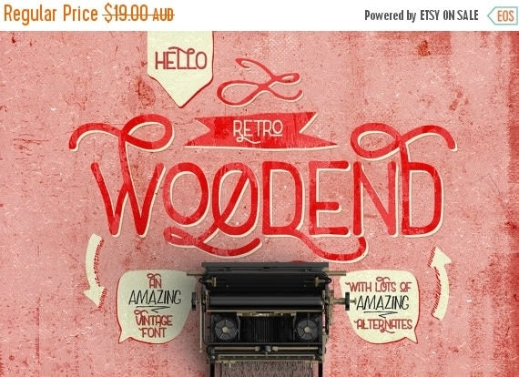 Digital Fonts 80% Off SALE Digital Fonts Woodend - Digital Typeface - Retro Fonts - Instant Download - with swashes and alternates