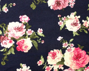 Navy Burgundy Pink and Green Floral Rayon Spandex Jersey Knit Fabric, 1 Yard