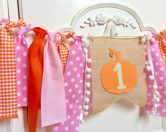 Pumpkin Birthday Highchair banner Girls Little Pumpkin Banner Pink gold Orange Fall Harvest Birthday Smash cake photo Prop Burlap Banner
