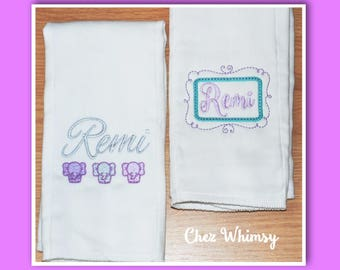 Monogrammed Burp Cloths, Personalized Burps, Elephant Burps, Custom Burps, Embroidered Burp Cloths, Gift for Baby, New Baby Gift