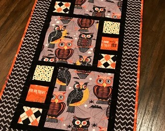 "Handmade Quilted Table Runner - 20"" x 40"" - Owls - Halloween - Table Linen - Homemade - Cotton"