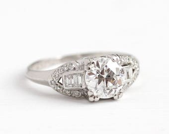 Antique Diamond Ring - Platinum Art Deco 1.22 CTW - Size 5 1930s Vintage Fine Old European Engagement Bridal Wedding Jewelry w/ Appraisal