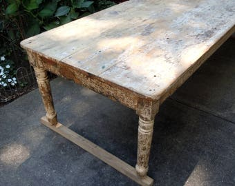 10 ft Long Antique Farm Table / Rustic Distressed Farm Table / Dixmont Phsyciatric Hospital / Early 1900 / Institution Table / Offered AS IS