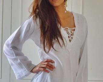 KAFTAN SUMMER 10% SALE White Tunic Embroidered Dress-Karmia's Syle, for gifts, beach, resort, holiday, bohemian wear, boho, Moroccan