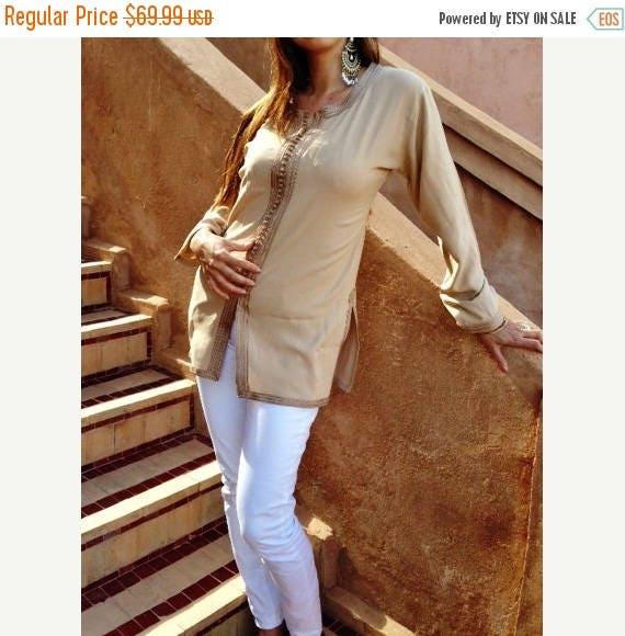 Autumn Dress 20% OFF/ Magrib Style Beige Shirt - perfect for loungewear,resortwear, casualwear, as birthday, honeymoon gifts, christmas gift