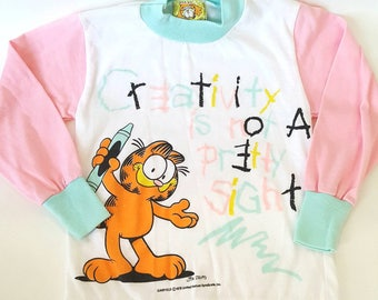 Retro Garfield shirt - 4T (fits more like 3T) - creativity - vintage top - long sleeve