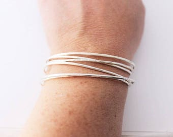 dainty modern bracelet, stacking bracelet, hammered or smooth cuff bracelet, hand forged cuff, every day jewelry for her, malisay designs