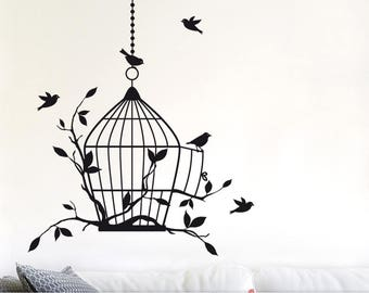 Bird Cage Wall Decal: Birdcage Wall Decor Decal with Flying Birds, Vines, and Chain (0177b)