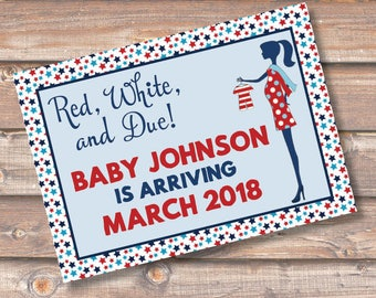 Red White & Due Pregnancy Announcement Sign Pregnancy Announcement Postcard Card Personalized Printable Red, White, and Due
