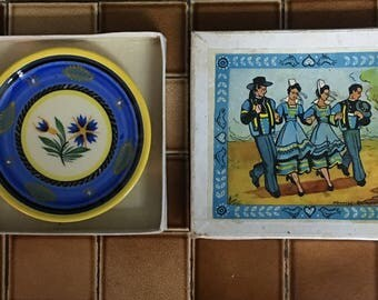 Vintage French Country Quimper Boxed Set
