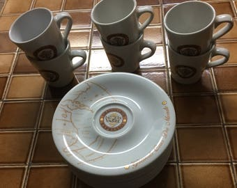 Vintage French Bistro Cups with Map