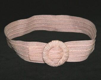 "Vintage 80's Pink Fabric Cinch Belt w/ Round Buckle - 32"" L x 2 1/4"" W"