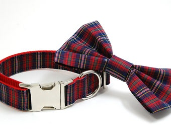 Handmade Dog Collar and Bow Tie Set - Red Navy Plaid - Custom Made Tartan Dog Collar with bowtie - Collar Stripes