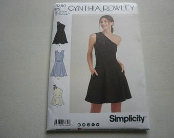 Pattern Women Dress One Shoulder Sizes 12 to 20 Simplicity 8380 A