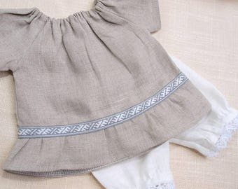 Waldorf Doll Clothes - Set of 2, Linen Peasant dress and linen bloomers, fit 15 - 16 inch dolls