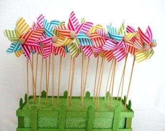 Pinwheels Spinning Pinwheels Twirling Pinwheels Rainbow Decorations Stripe Pinwheels Party Favors Birthday Favors Table Centerpiece