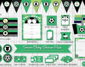 Sports Themed Baby Shower, Soccer Party, All Star, Sports, Printable Party Pack, Baby Shower Decorations, DIY Party, Green