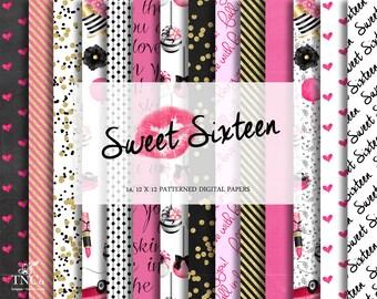 Pink Digital Paper - Fashion Digital Papers - Chalkboard digital background - Sweet 16 Printables - Commercial use digital paper - TNCo