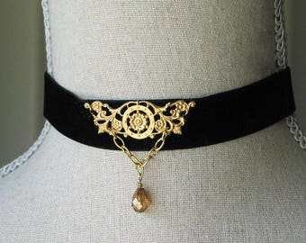 Black Velvet and Gold Filigree Choker, 18th century style jewelry