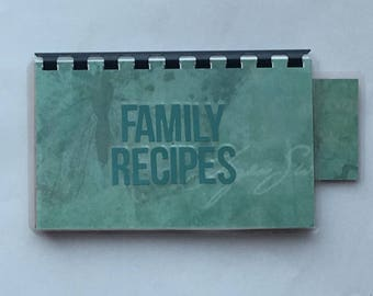 Handmade Teal 'Family Recipes' Blank Recipe book for Your Personal Recipes