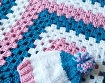 Crochet Baby Blanket, Baby Blanket for Girls, Granny Square, Teal and Pink Blanket
