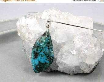 LATE SHIP SALE Turquoise Pendant, Chrysocolla Pendant, Gemstone Pendant, Yoga Jewelry, Yoga Style, Chrysocolla Necklace, Turquoise, Malachit