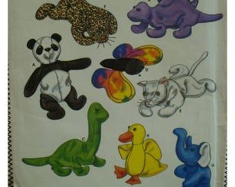 Beanbag Animals Pattern, Beanie Babies, Dinosaurs, Duck, Elephant, Panda, Tiger, Cat, Butterfly, Carla Reiss, Simplicity No. 8472 UNCUT