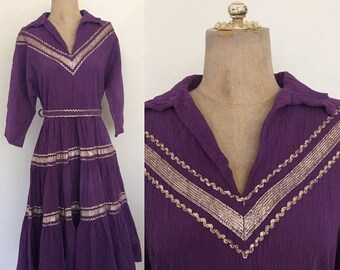 30% OFF 1950's Purple Mexican Patio Dress Vintage Rockabilly Retro Pin Up Size Small Medium by Maeberry Vintage