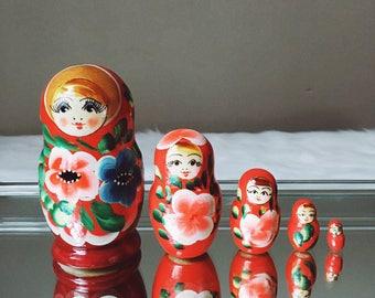 Handpainted Wooden Matryoshka Dolls, Russian Nesting Dolls, Babushka Dolls, Set of 5