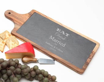 Wood Cheese Board, Eat Drink and Be Married, Acacia Wood Slate Cheese Board, Monogrammed Gifts, Personalized Wedding Gift, Housewarming D17