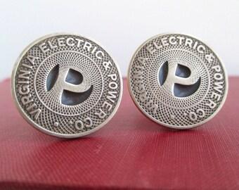 Virginia Electric & Power Transit Token Cuff Links - Vintage Solid Bronze Repurposed Coins