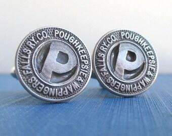 Poughkeepsie, NY Railway Token Cuff Links - Repurposed Vintage Silver Tone Coins
