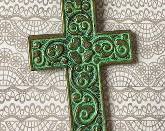 Cross Pendant Patina Floral Ornate Turquoise GREEN Bronze Antiqued Gold Pewter