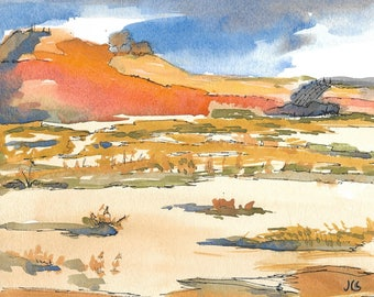 Original Watercolor Landscape Southwest Painting  Sky Mountain Earth