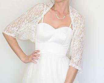 ON SALE Wedding bolero, off white bridal bolero, lace bolero, off white lace shawl for bride, autumn shawl bride