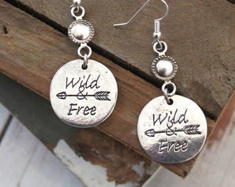 WILD AND FREE -round dangling earrings Boho chic style Antique silver finish earrings wanderlust Hippie Gypsy jewelry Handmade by Inali