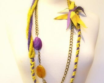 CIJ SALE Braided Fiber Statement Necklace, Body Jewelry,  Belt, Twisted, Brass Chains, Purple and Mustard Yellow Agates, Suede Accent