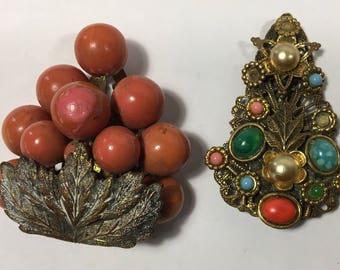 Vintage Lot of 2 Dress Clips Colorful
