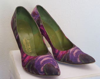 1950s-60s Multicolored Fabric Covered Heels