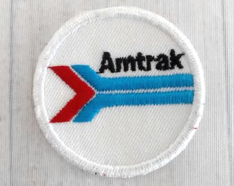 "Used Small Vintage 2"" Amtrak Patch, Railroad Applique Collectible, Railroadiana, National Railroad Passenger Corporation, American Trains"