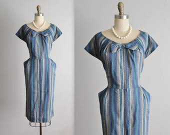 50's Shirtwaist Dress // Vintage 1950's Fitted Blue Striped Cotton Casual Day Dress  L XL