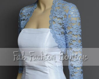 Blue 3/4 sleeved lace bolero jacket shrug Size S-XL, 2XL-5XL
