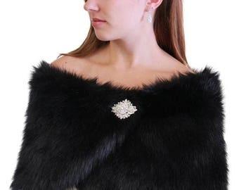 Summer Sale Black Faux Fur Wrap For Brides, Shrug #306NF-BLK on Spring Sale