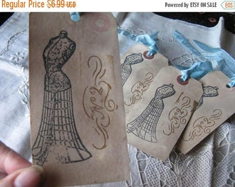 6 Cottage Chic Hang Tags - Corsets Sewing Black