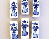 6 large cat beads, blue and white porcelain cats, Delft blue rectangle, animal beads