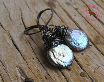 Oxidized Black Coin Pearl Dangle Earrings, Baroque Black Coin Pearl Earrings, Oxidized Black Pearl Earrings, by MagpieMadness for Etsy
