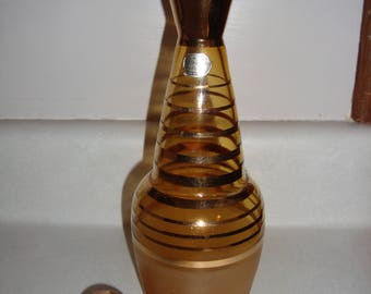 Amber Bohemian Glass Decanter made in Czechoslovakia
