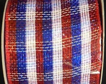 SUPPLY SALE 4 Inch RWB Striped Poly Deco Mesh Ribbon Cr131-74, Deco Mesh Supplies
