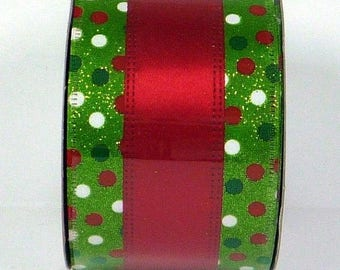 ON SALE 2.5 Inch Lime Red White Dot Ribbon X741640-17, Deco Mesh Supplies