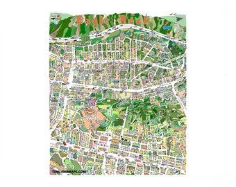 Occidental College  Highland Park Eagle Rock Hand drawn map print 20x24